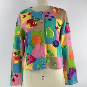Michael Simon Button Up Fruit Sweater Sz. M